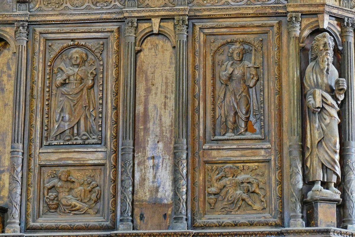 Coté sud de la tribune de l'orgue (1606), église Notre-Dame de Croas-Batz. Photographie lavieb-aile juillet 2017.