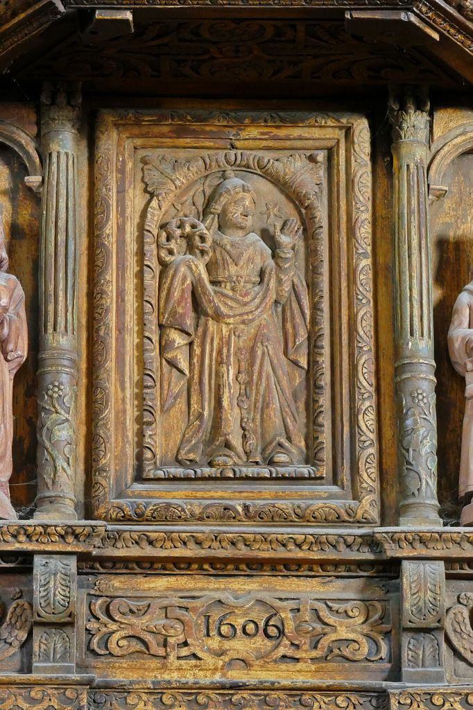 La Sibylle de Delphes, façade centrale  de la tribune de l'orgue (1606), église Notre-Dame de Croas-Batz. Photographie lavieb-aile juillet 2017.