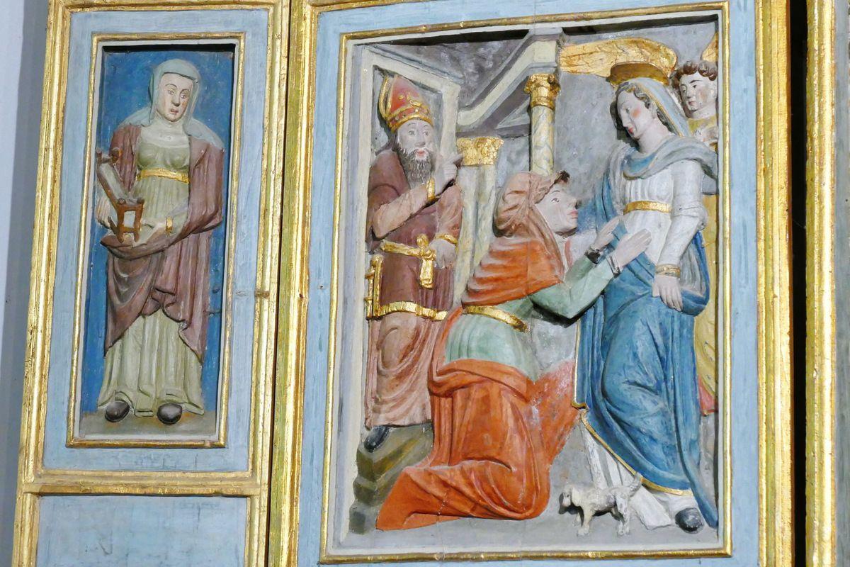 La Sibylle de Samos et son berceau associée à la Visitation, volets gauches du retable de l'Arbre de Jessé, bois polychrome, vers 1576-1580,   chapelle Notre-Dame-de-Berven. Photographie lavieb-aile juillet 2017.