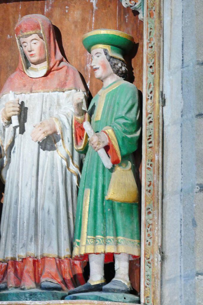 """Le Riche, retable de """"Saint Yves entre le Riche et le Pauvre"""" de l' église de La Roche-Maurice. Photographie lavieb-aile septembre 2017."""