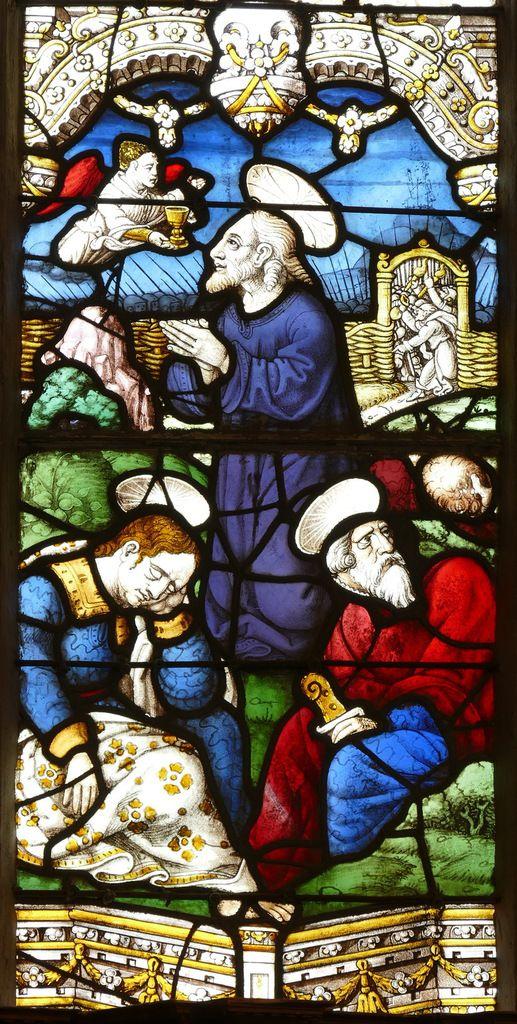 L'Agonie au jardin des Oliviers, 1539, maîtresse-vitre de l'église Saint-Yves de La Roche-Maurice. Photographie lavieb-aile septembre 2017.