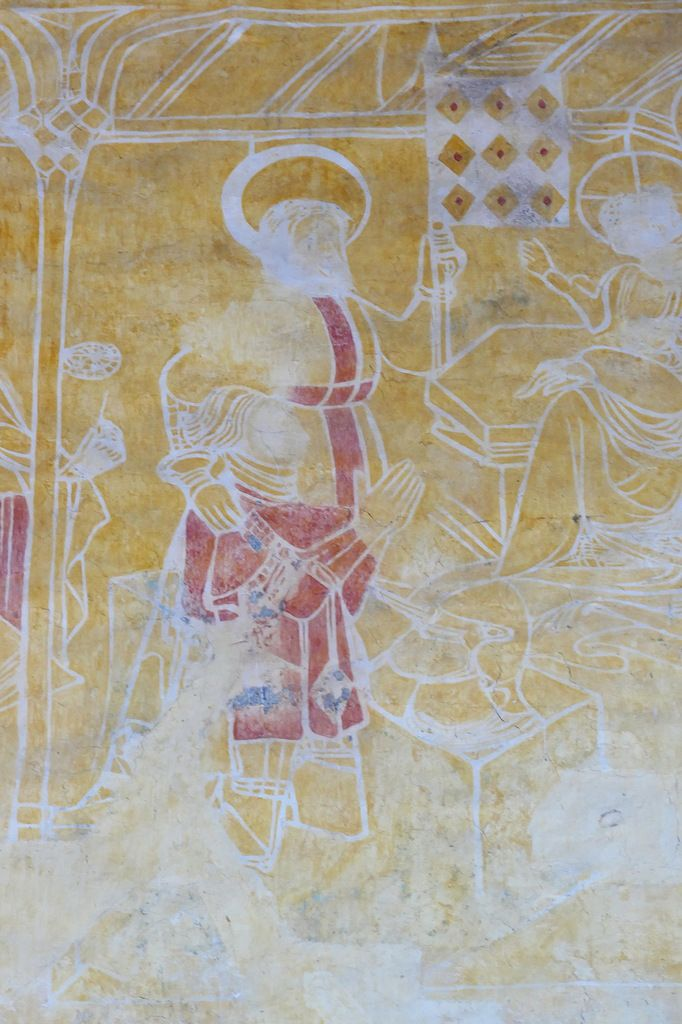 Alain IX de Rohan en donateur devant la Vierge à l'Enfant, peintures murales de la chapelle Saint-Jacques à Saint-Léon, Merléac. Photographie lavieb-aile septembre 2017.