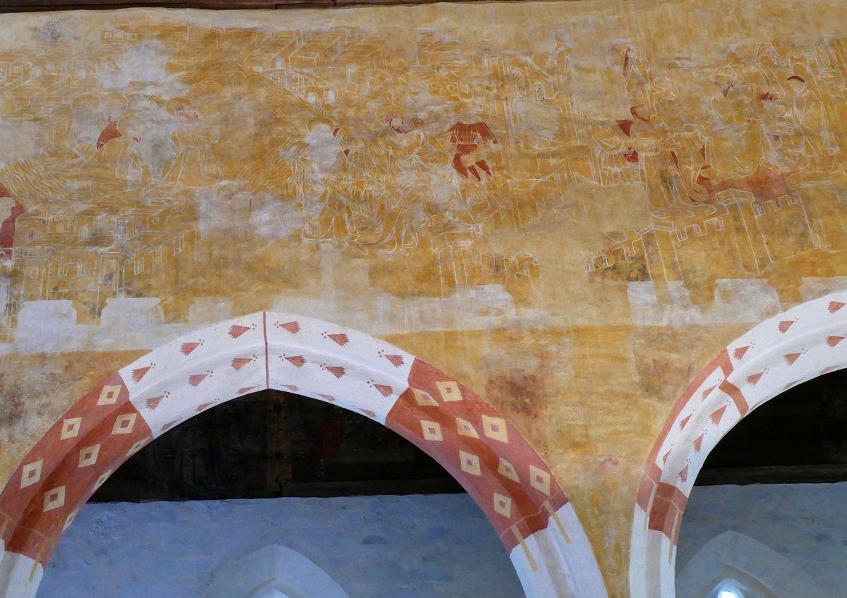 L'Agonie à Gethsémani, coté nord de la nef,   peintures murales de la chapelle Saint-Jacques à Saint-Léon, Merléac. Photographie lavieb-aile septembre 2017.