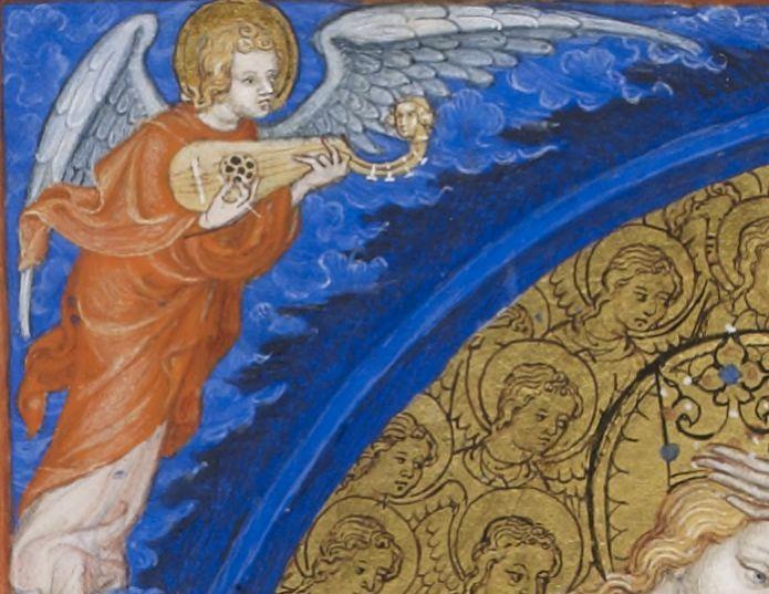 Très Belles Heures de Notre-Dame (1375-1400), enluminure du Maître du Parement de Narbonne (Jean d'Orléans), Couronnement de la Vierge folio 75v. Gallica.