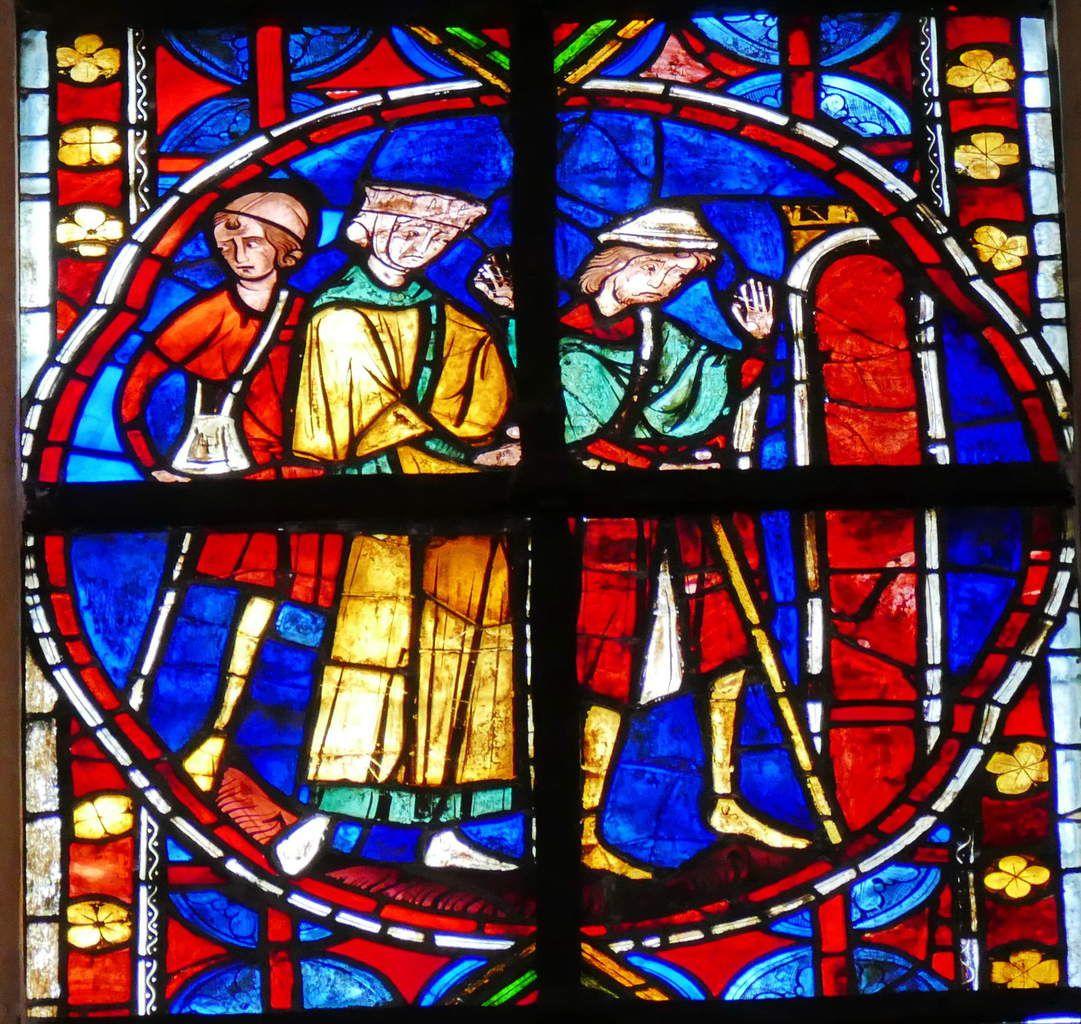 Baie 210 ou verrière de saint Jacques (3ème quart XIIIe ) , chœur de la cathédrale Saint-Gatien de Tours, photographie lavieb-aile juillet 2015.
