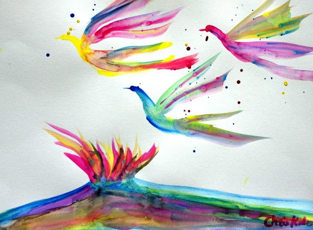 Série Migration. Peinture éphémère gouache
