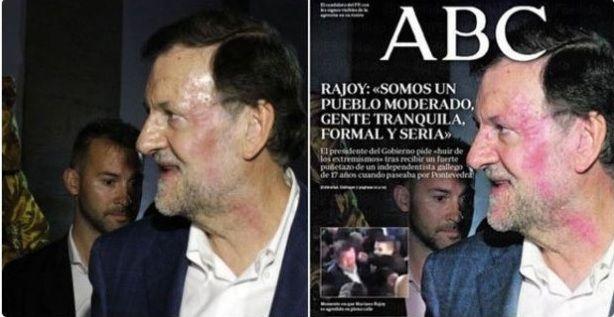 El periódico de derechas afín al PP, ABC, manipula tendenciosamente la foto del puñetazo a Rajoy en su portada