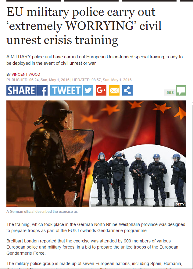 PREOCUPANTE: LA POLICÍA MILITAR DE LA UE SE ENTRENA PARA AFRONTAR AGITACIÓN CIVIL Y DISTURBIOS