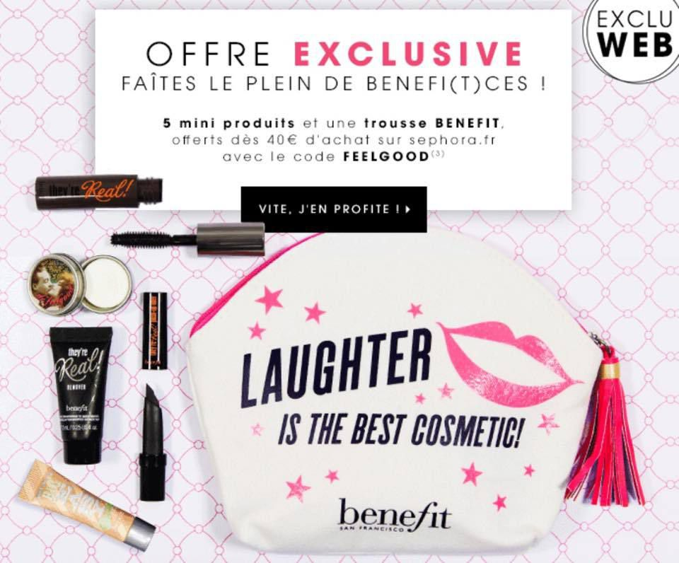 Pour 40€ d'achat de produits Benefit, cette trousse et 5 mini produits en cadeau !