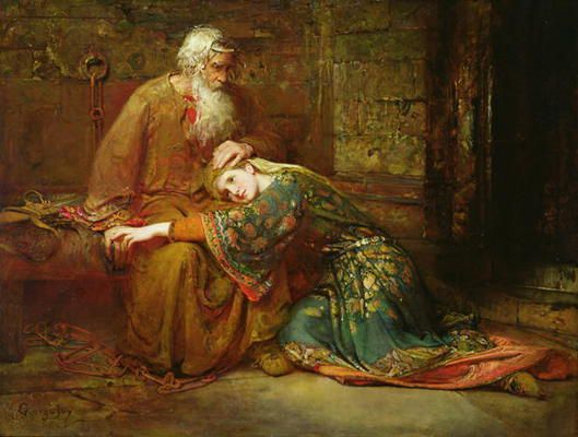 George William Joy - Cordelia comforting her father, King