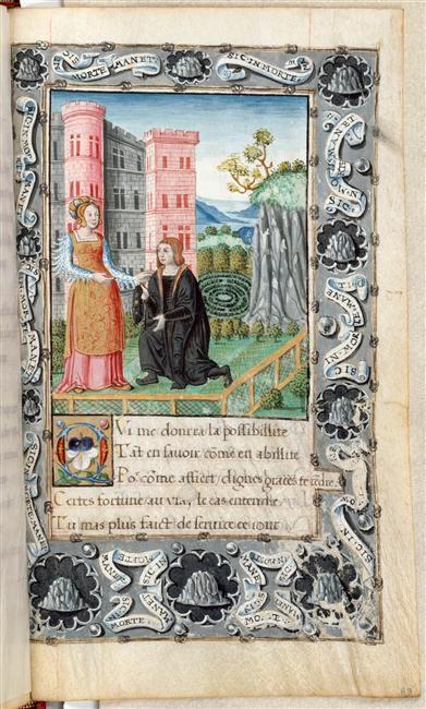 Ce manuscrit  du XVe s. appelé '' L'Amant infortuné '' appartient à la bibliothèque de Chantilly. Il est sur parchemin et contient 97 feuillets. Les dimensions des illustrations sont 228 x132mm.