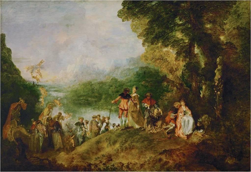 """En 1717, le peintre Jean-Antoine Watteau (1684-1721) présente à l'Académie royale de peinture son tableau de réception baptiséPèlerinage à l'île de Cythère""""Une feste galante""""."""