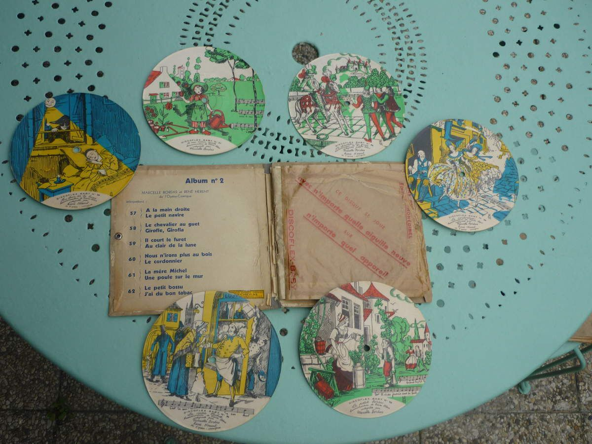Albums disques anciens de couleur DISCOFLEX de 1930