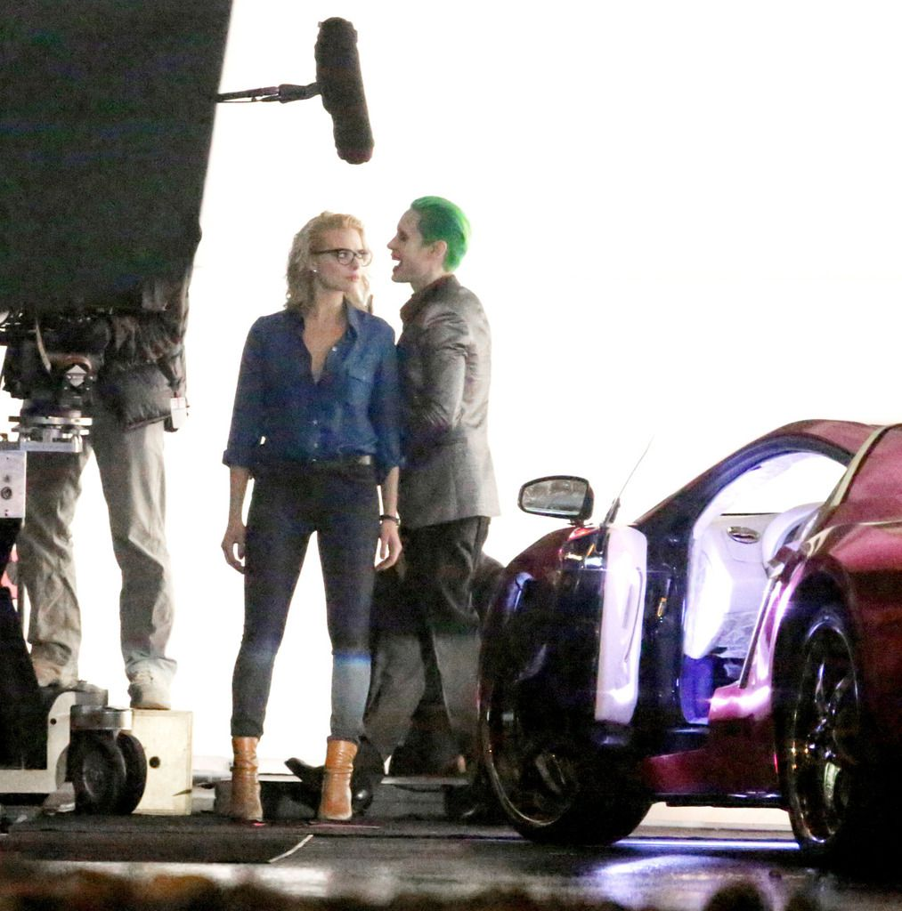 Jared Leto and Margot Robbie on the set of Suicide Squad