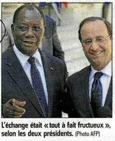 Hollande ravi d'avoir annulé (sur notre dos) 3 milliards d'euros de dette de la Côte d'Ivoire de Ouattara.