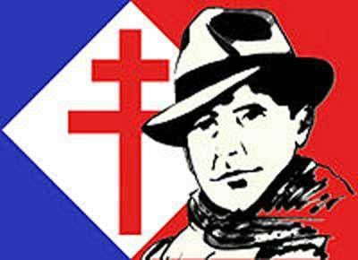 Emblèmes de la résistance 1943 drapeau, croix de Lorraine et Jean Moulin.