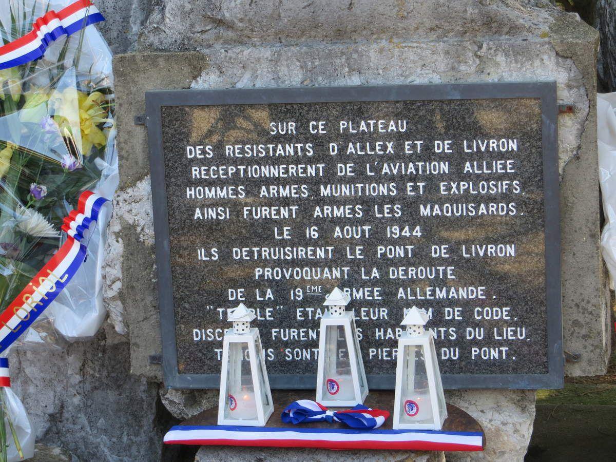 -photos 1 à 8 cérémonie à la stèle au Plateau de la Résistance, lieu de parachutage (hommes,explosifs, armes et munitions) pour le sabotage du pont routier Livron-Loriol - photos 9 et 10 rassemblement devant la plaque 'Jean Boyer' à Allex.