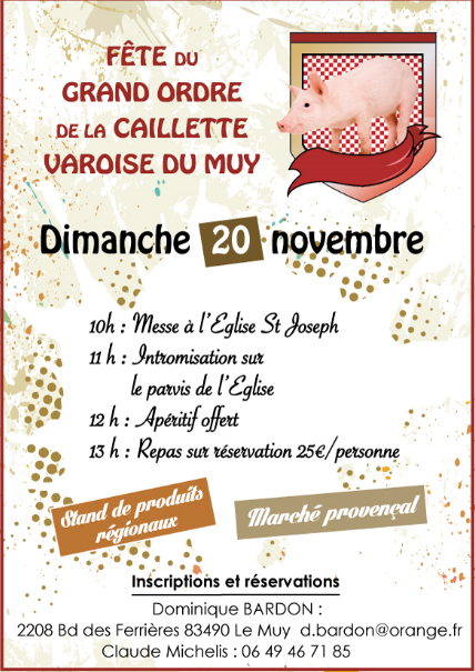 Invitation Grand Ordre de la CAILLETTE du MUY