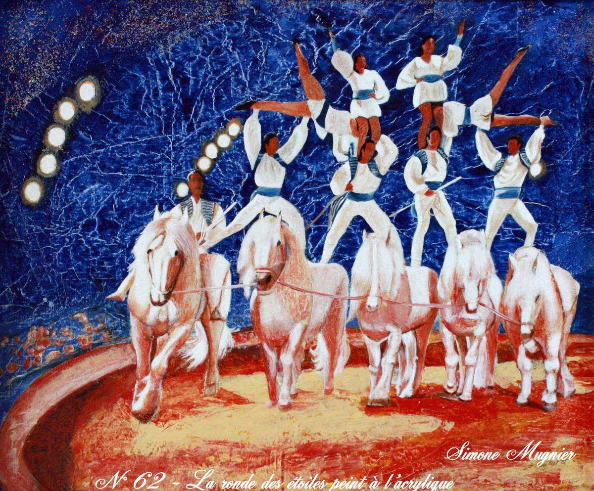 """Titre : """"La ronde des Etoiles"""" - Technique : acrylique sur toile maroufflée - Dimensions 73x60cm"""