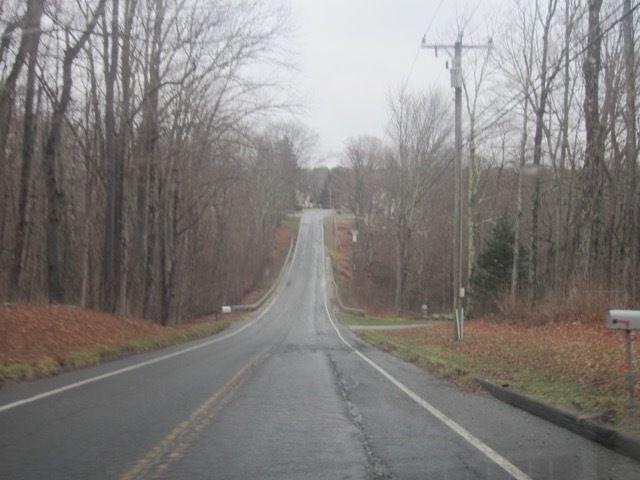 au programme du samedi : petits ponts en bois, ciel gris, bruine, route deserte (sauf quand elle est traversée par un troupeau de dindons sauvages)