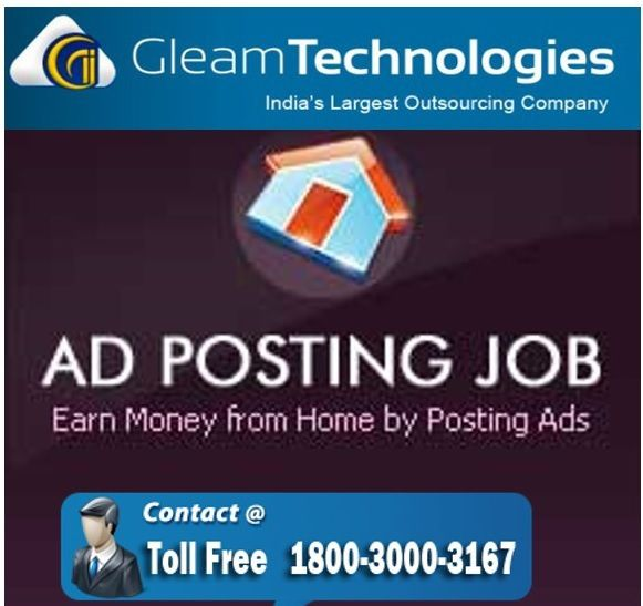 """HOW DOES AN AD POSTING JOB COMPANY EARN REVENUE?About Gleam technologies AdpostingThere are thousands of online ad posting job provider companies Gleam Technologies Neyveli is a professionally managed ISO: 9001:2008 certified Company.  Gleam Technologies Projects are tailored to suit each Client's specific requirement and integrated to provide end-to-end solution to all over the world. What is Gleam technologies adposting job?""""Ad posting job"""" is a very popular part time job today. It is simply a free classified ad posting work. It is also known as online copy paste work.  A certain ad mater (with a business title and description) will be provided to you to post on different of free classified sites.How  Gleam technologies adposting  generates income online.This is done for companies who need to promote their websites & products/services online. If you know how to surf the internet and copy & paste text matter, then you are eligible for this kind of job. If you are considering working online, taking up gleam technologies ad posting jobs would be a nice idea. You certainly won't become rich, but all the same, these are reliable and rewarding jobs, with which you can very well make a career out of.As this type of companies are advertising their own business on thousands of free classified sites. So, they are  getting more customer for that. And getting more customer means more money.Companies will get huge traffic to their website from those classified sites. So, if their website contain ad network like Adsense, then the companies will earn more online revenue from that. Many companies are generating more than INR 4,00,000/- from Adsense.   Earn online money by joining the best part time income site at Gleam technologies."""
