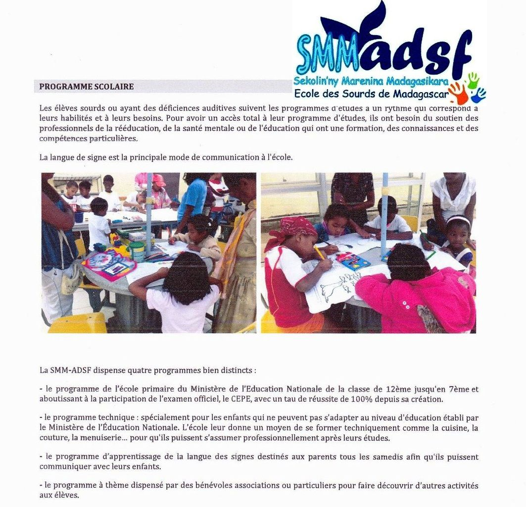 Association Fitia à l'école des sourds. 12 octobre 2015