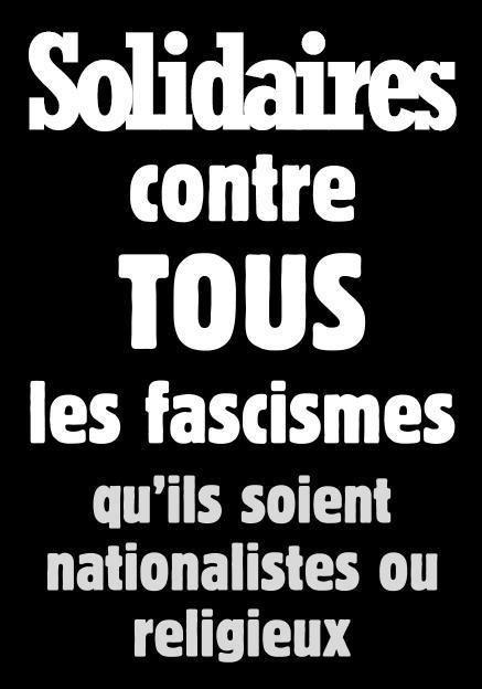 Union syndicale Solidaires contre tout les fascismes qu'ils soient politiques ou religieux