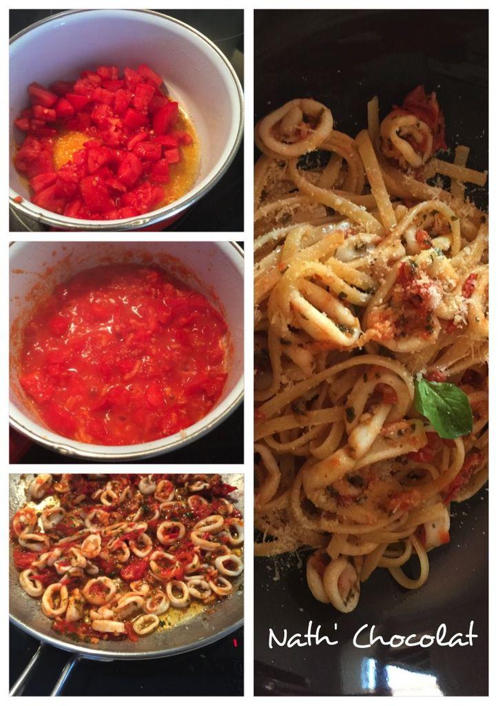 Linguines tomates fraiches et calamars