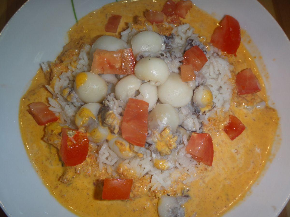 Supions et crème chorizo
