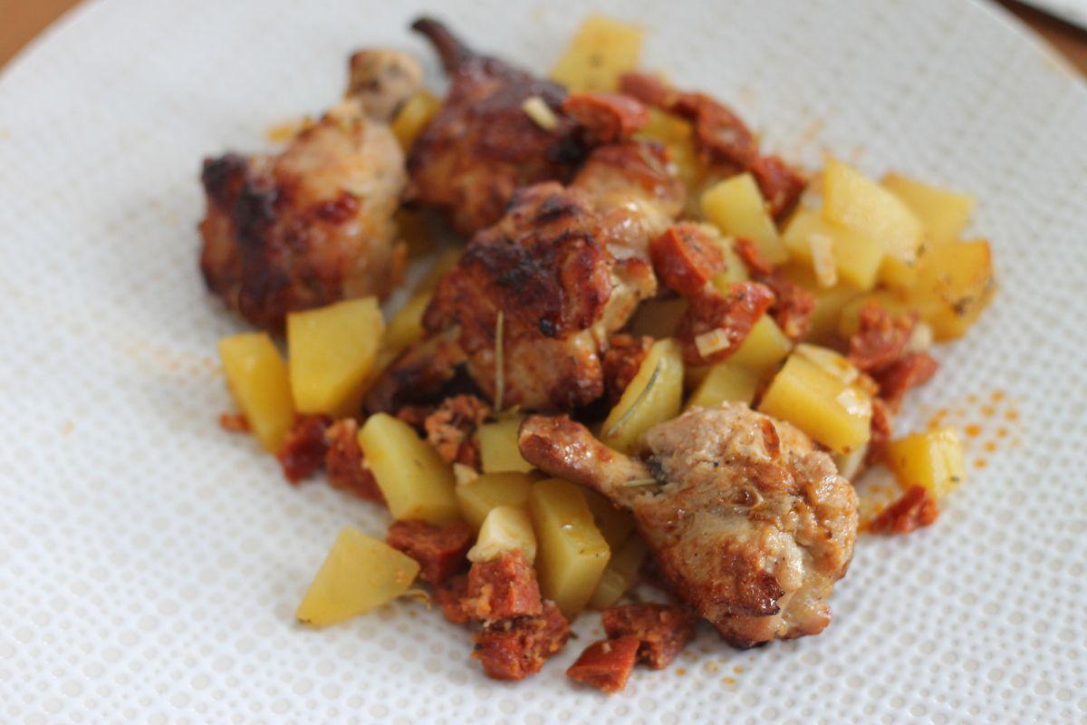 Pilons de poulet et pommes de terre au chorizo