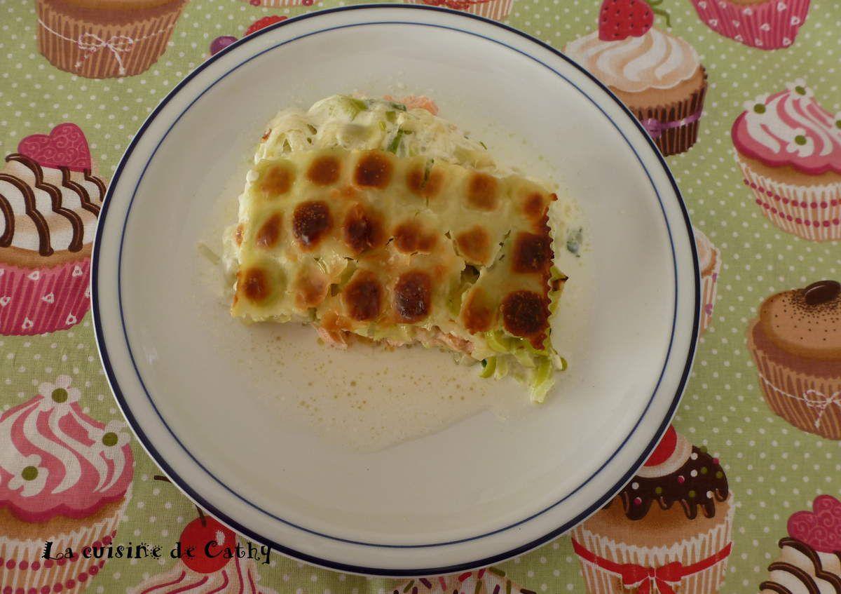 Gratin de ravioles au saumon et poireau