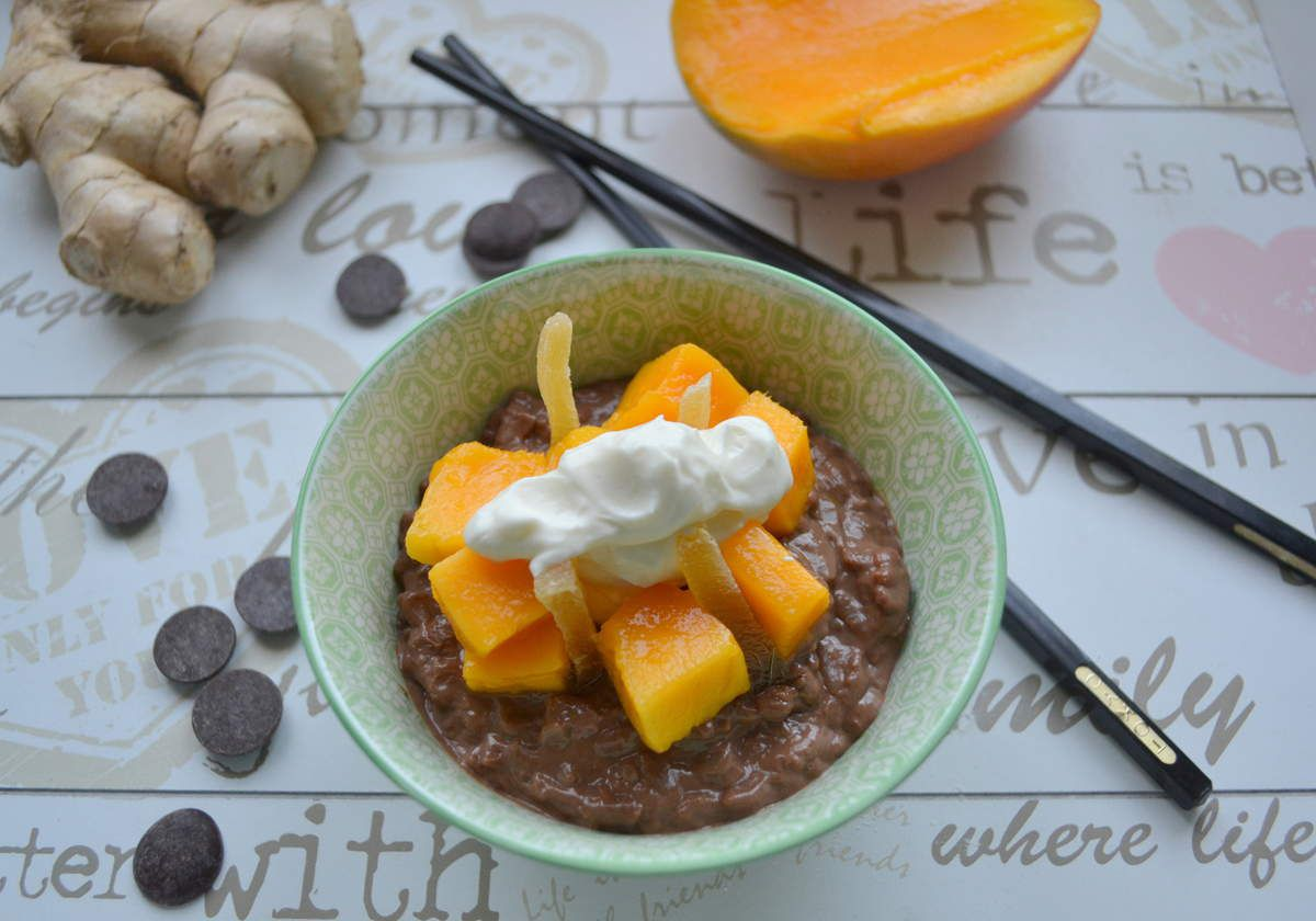 Riz au lait, chocolat-gingembre-mangue et son petit nuage de chantilly