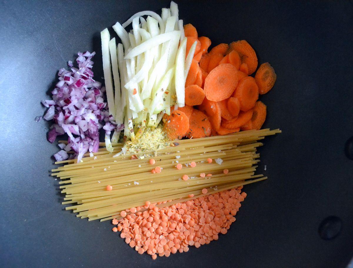 One pot pasta aux légumes d'hiver, ricotta et parmesan