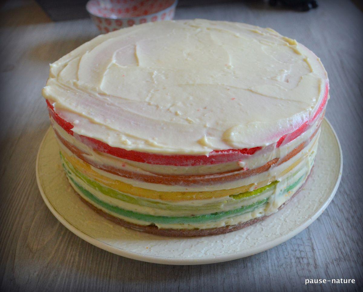 Rainbow cake à la noix de coco