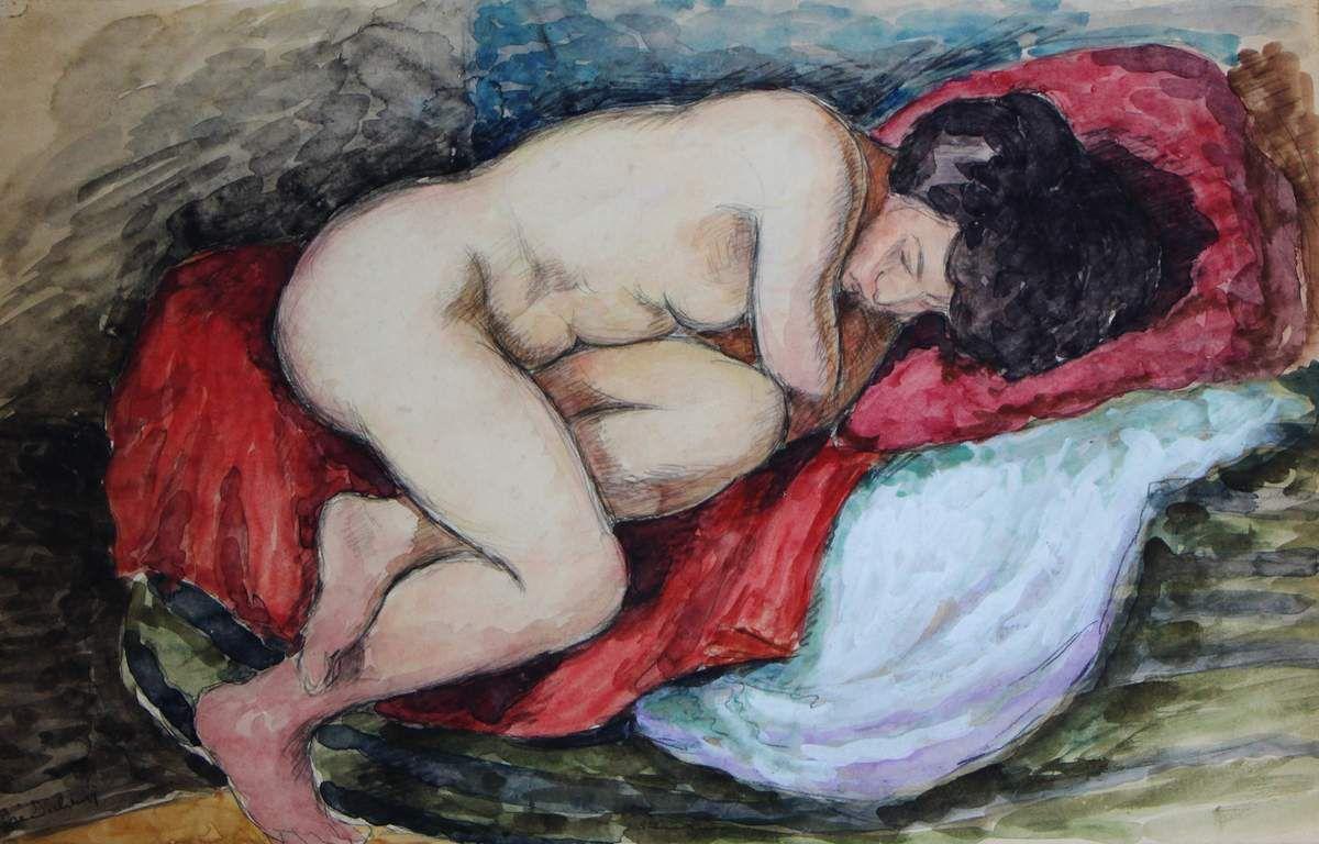 Pierre Dubreuil (1891-1970), nu allongé, aquarelle, signée, 33,5 x 51 cm.