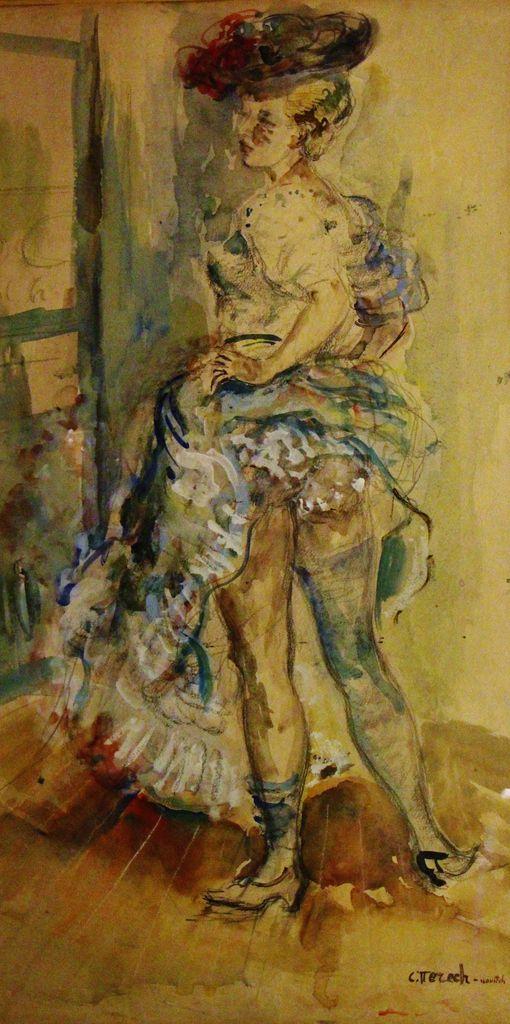 Constantin Terechkovitch (1902 - 1978), la danseuse, aquarelle, signée, 63.5 x 34 cm.