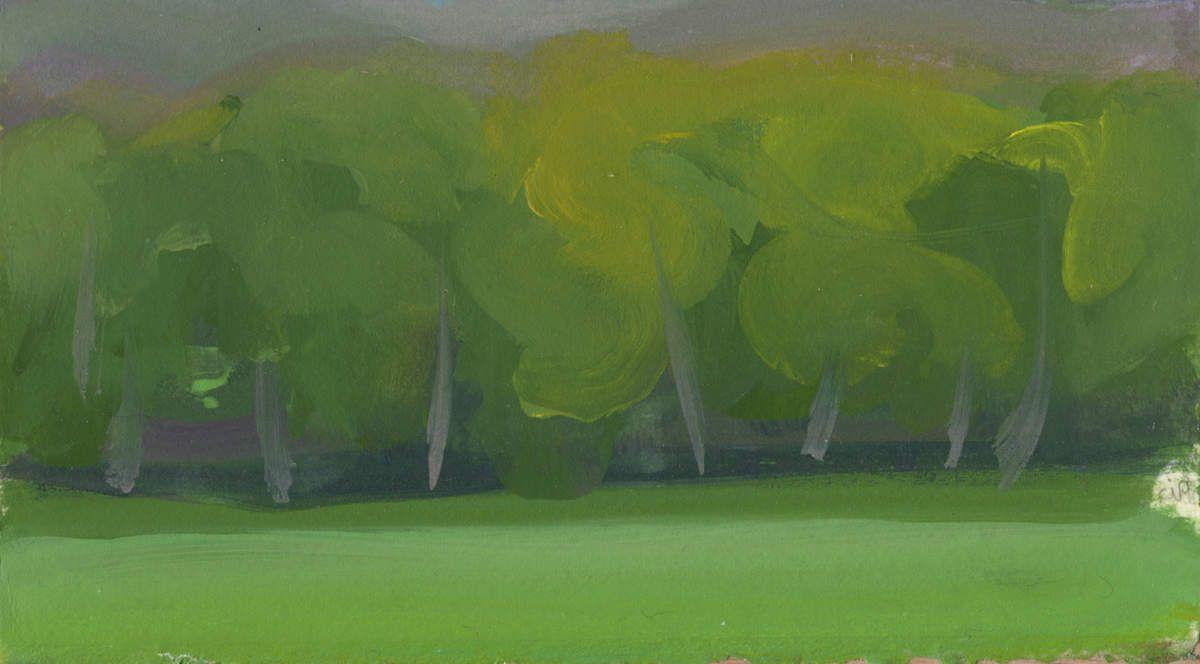 Route de la forêt sous la pluie, 2011, acrylique sur papier, 10,5 x 18 cm.