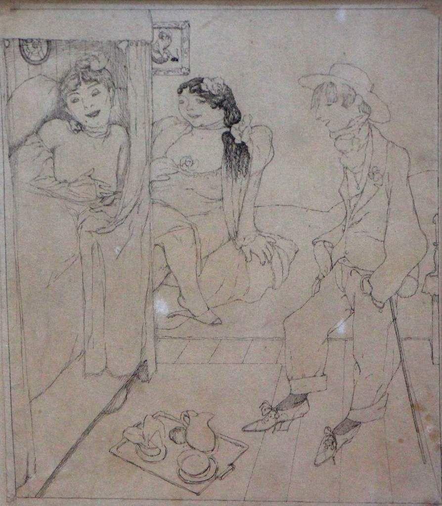Scène de maison close Montparnasse, vers 1920, dessin à l'encre sur papier, 22 x 18 cm.