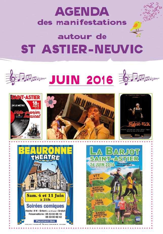 agenda des animations juin 2016 autour de Neuvic et St Astier