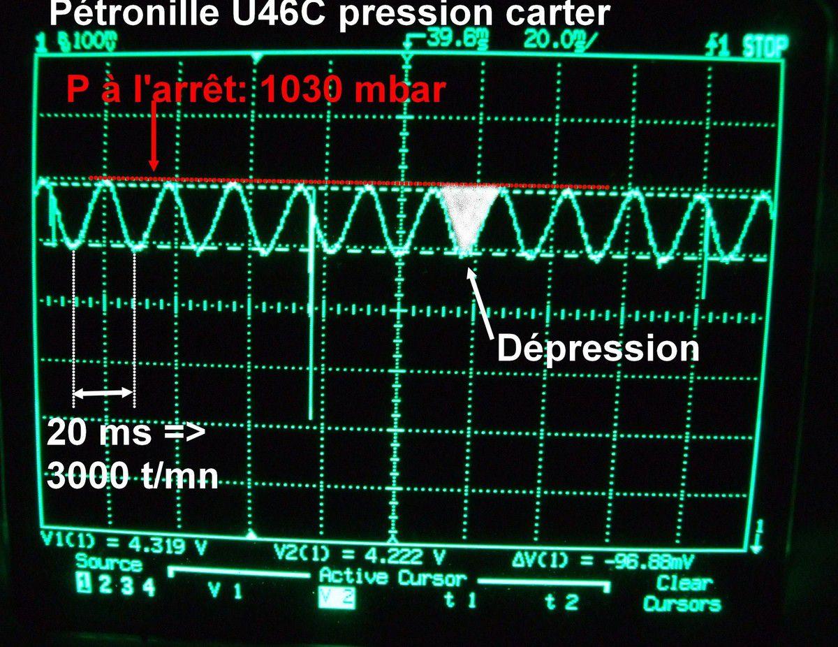 Enregistrement de pression carter sur 125 Motoconfort U46C