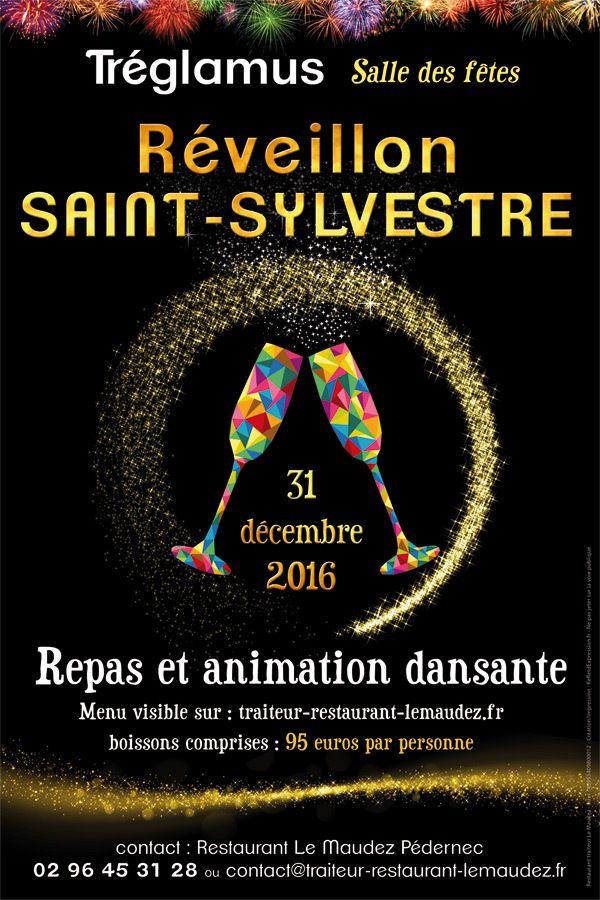 Affiche promotionnelle Saint-Sylvestre - Réveillon menu Nouvel An