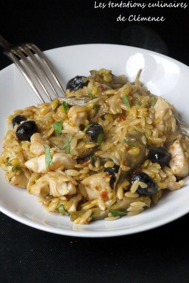 Douceur de blé tomatée façon risotto, poulet, artichauts, olives, souvenir d'un repas Tipiak/Passard