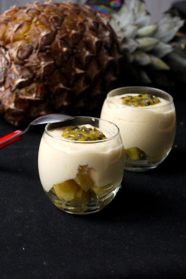 Mousse de mascarpone à la passion, ananas