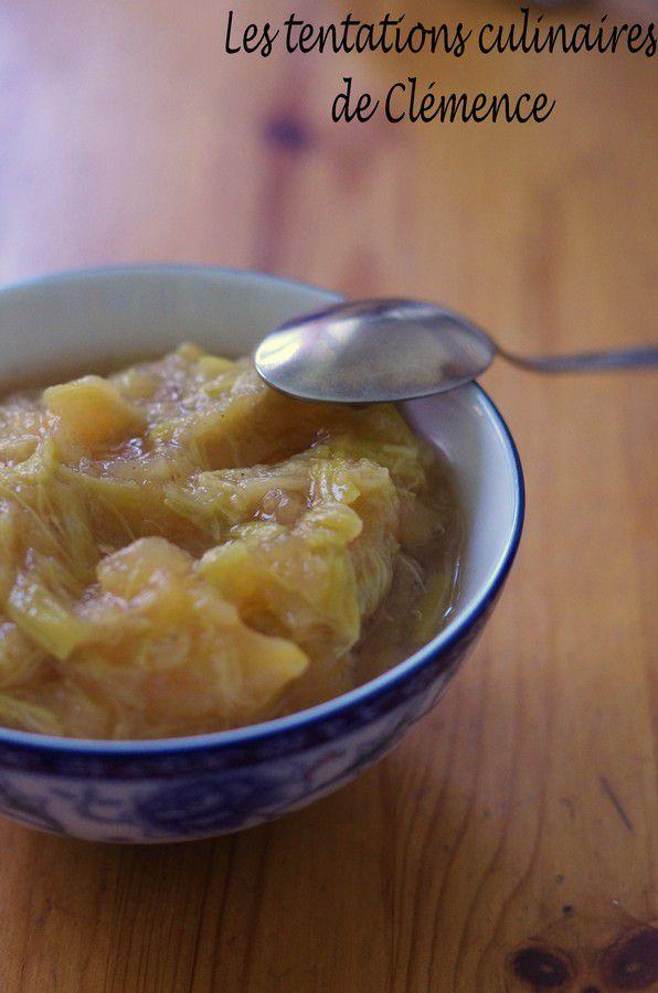 Compote pomme/rhubarbe parfumée à la framboise