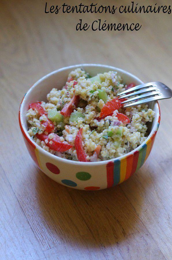 Salade de boulgour et concombre au cumin et vacances