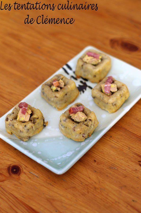 Cake aux champignons et bacon, dés de foie gras