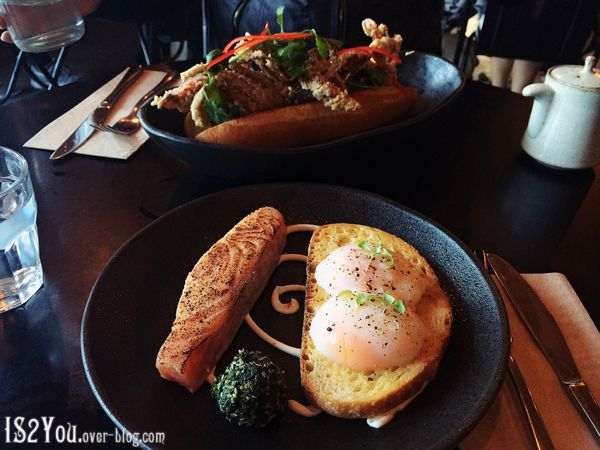 Soft shell crab sandwich and miso salmon with onsen eggs