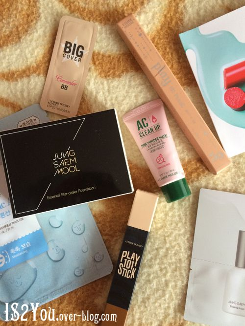 I purchased the Jung Saem Mool Star-cealer foundation and Etude House Play 101 Contour stick and highligher and the rest are samples/freebies!
