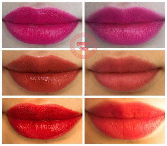 Arm swatches (Top to bottom):  05 Inktude Rose, 06 Celeb Deep Rose and 10 Ooops Fuchsia. Lip swatches (Top to bottom): no. 10, no. 06 and no. 05. Left side of lip swatches is right after applying and right side is the tint left behind when using a tissue to wipe off the top layer.