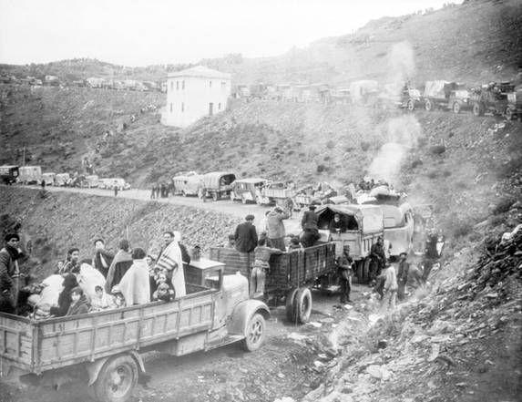 Retirada, 15 d febrero de 1939, Cerbère, llegada de un convoy de refugiados. © Bettmann-Corbis